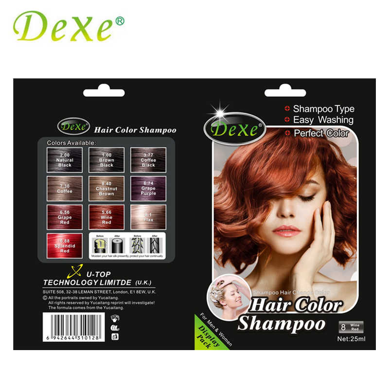 5pcs/lot Dexe Wine Red Hair Color Shampoo Hair Dye Easy Washing Perfect  Color for Men & Women
