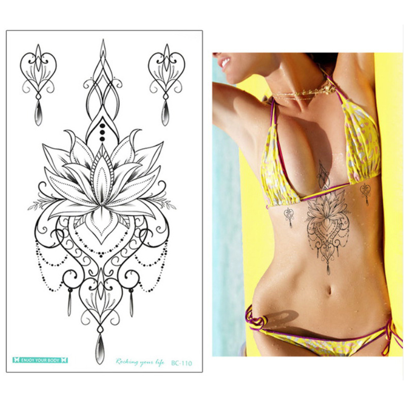 New designs Chest Flash Tattoo large flower Earrings necklace shoulder arm Sternum tattoos henna body/back paint Under breast golden state of mind colourpop