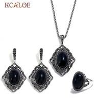 KCALOE Oval Black Stone Jewellery Sets For Women Vintage Crystal Rhinestone Geometry Costume Jewelry Set Party Birthday Gift