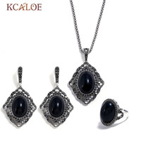 KCALOE Oval Black Stone Jewellery Sets For Women Vintage Crystal Rhinestone Geometry Costume Jewelry Set Party Birthday Gift