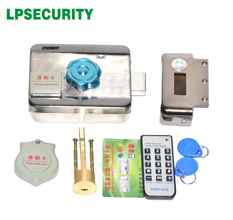 Image 2 - LPSECURITY 2 or 10 tags Door & gate lock castle Access Control Electronic integrated RFID Door Rim lock RFID reader for intercomrfid dooraccess controllock rfid -