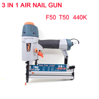 Wilin 3 in 1 Staplers Pneumatic Nail Gun 18Ga/20Ga Stapler Finish Nailer Pneumatic Finishing Nail Tool For T50 F50 440K