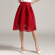 MWSFH Summer New Style Sexy Fashion Skirt women Striped Hollow-out Fluffy Skirt Swing Skirts Ladies Black Red Ball Gown Long