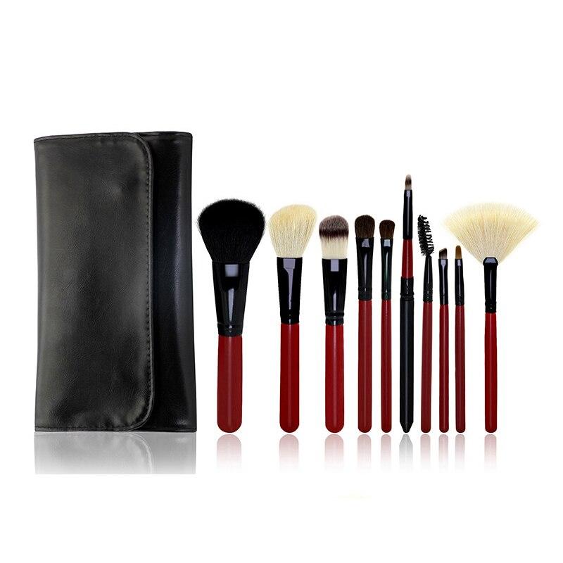 ФОТО 10 pcs/4colors Daily Cosmetics Artifact Makeup Brush Set Multipurpose Professional Foundation Powder Brush Kit with Dinner Bag