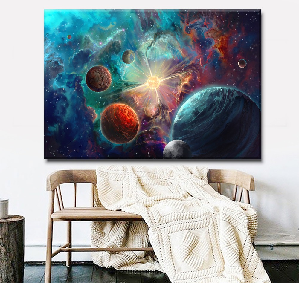 Living Room Or Bedroom Wall Decor Painting Framework Frameless 1 Panel Colorful Nebula Planet Space Canvas Print Type Poster