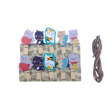 10pcs/lot Lovely Lucky Cat Wooden Clips Mini Wood Clips Paper Photo Clip Craft Decoration Clips With Hemp Rope(China)