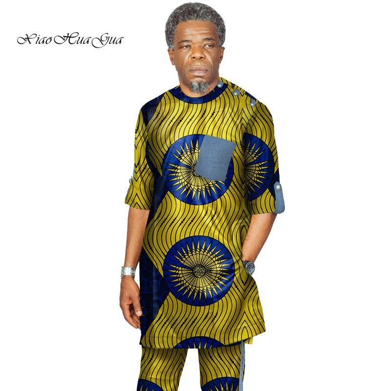 Impression traditionnelle africaine Dashiki pour hommes haut décontracté t-shirts et pantalons pantalon ensemble grande taille vêtements africains hommes ensemble WYN735