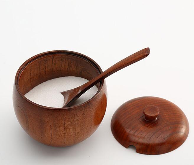 Ceramics Japanese Style Sugar Bowl Spice Jar Storage Seasoning Pot with Lid Spoon