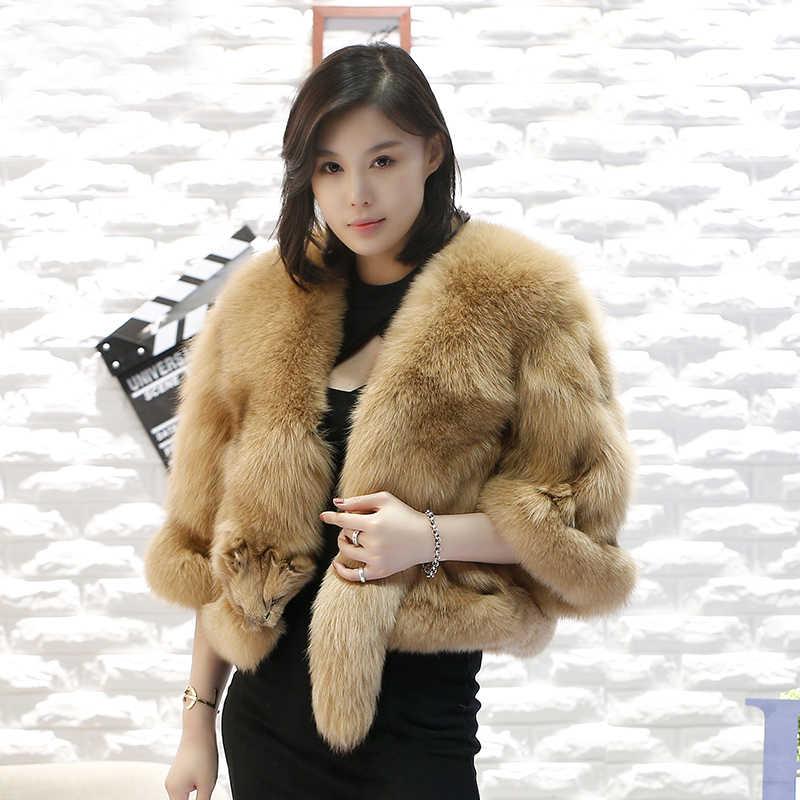 2020 nuovo stile di modo delle donne genuino reale pelliccia di volpe poncho cappotto 100% reale naturale pelliccia di volpe piena di pelliccia cappotto corto reale giacca di pelliccia di volpe