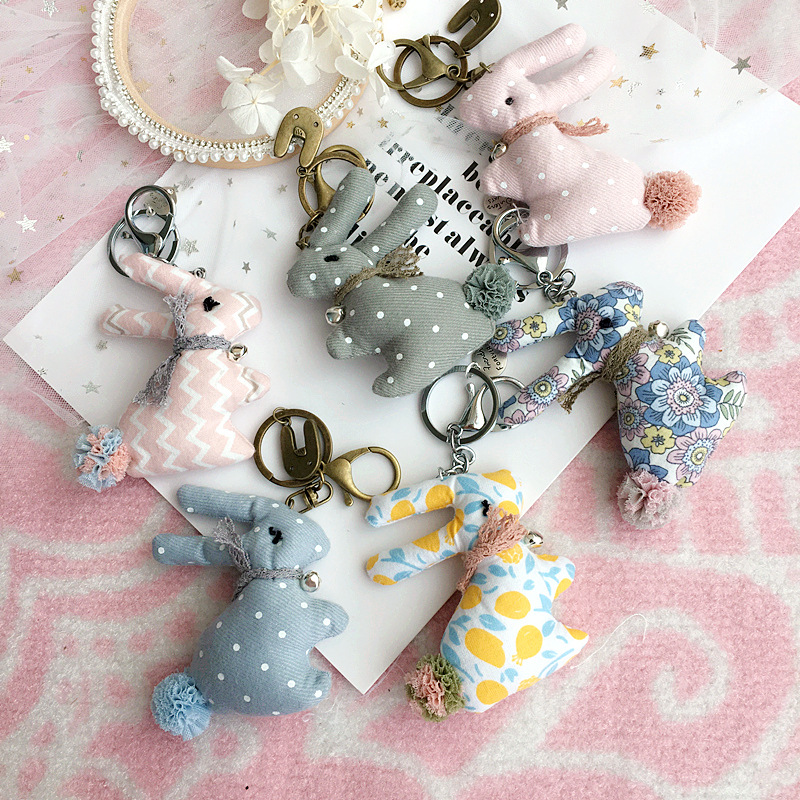 Korea Fabric Polka Dot Striped Floral Rabbit Car Key Chain Cell Phone Bag Pendant Fashion Jewelry Accessory For Woman-SWKKC015F