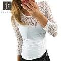 Kaywide Новый Весенняя Мода кружева лоскутная футболка женщины О шея белые bodycon Tee топы С Длинным рукавом Летние футболки женский