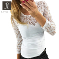 Kaywide New Spring Fashion lace patchwork t shirt women O neck white bodycon Tee tops Long Sleeve shirt Summer tshirts female