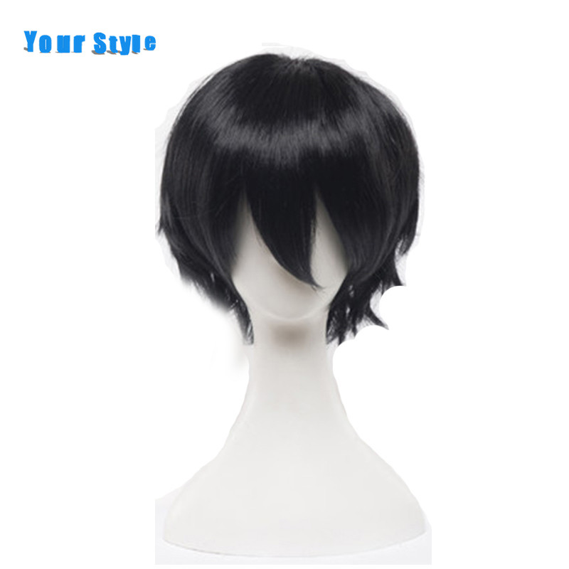Your Style Short Curly Black Cosplay Wigs Men for Costume Party Fake Natural Hair Synthetic High Temperature Fiber