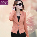 Female Suit Jacket Blazers Lace Flowers Slim Korean 2016 New Spring Short Long-Sleeved Women Coat Plus Size 3XL Ruffles