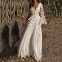 Sexy Deep V White Long Dress Elegant Women Boho Floral Mesh See Through Flare Sleeve Summer Lace Up Pleated Beach Maxi Dresses