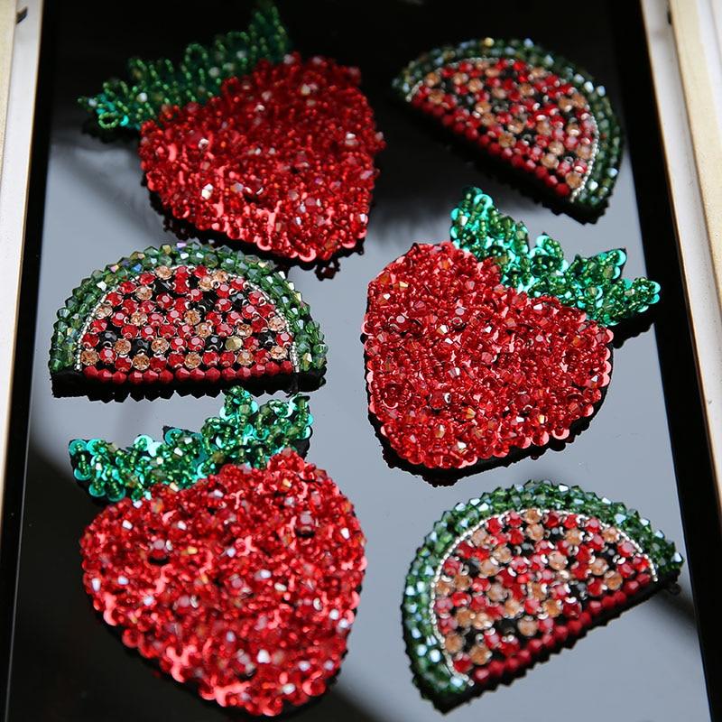 3D Watermelon roșu căpșuni paiete margele diamante patch broderie - Arte, meșteșuguri și cusut