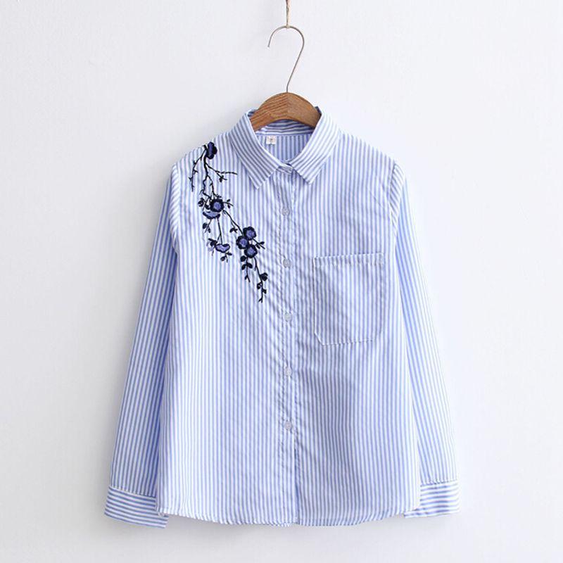 2019 Cotton Floral Embroidered Blouse Tops Women Autumn Blouse Shirts Fashion Striped Long Sleeve Turndown Collar Blusas Female blouse