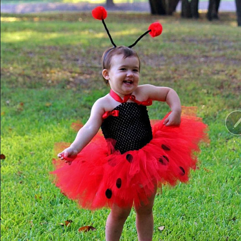 3bba6062c4 Cute Girls Red Ladybug Tutu Dress Baby 2Layers Tulle Dress with Hairbow  Kids Animal Cosplay Costume Party Cartoon Dress Clothing-in Dresses from  Mother ...