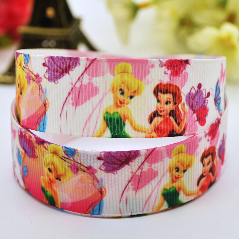 7/8 (22mm) Tinker Bell fairy Cartoon Character printed Grosgrain Ribbon party decoration satin ribbons X-00014 OEM 10 Yards