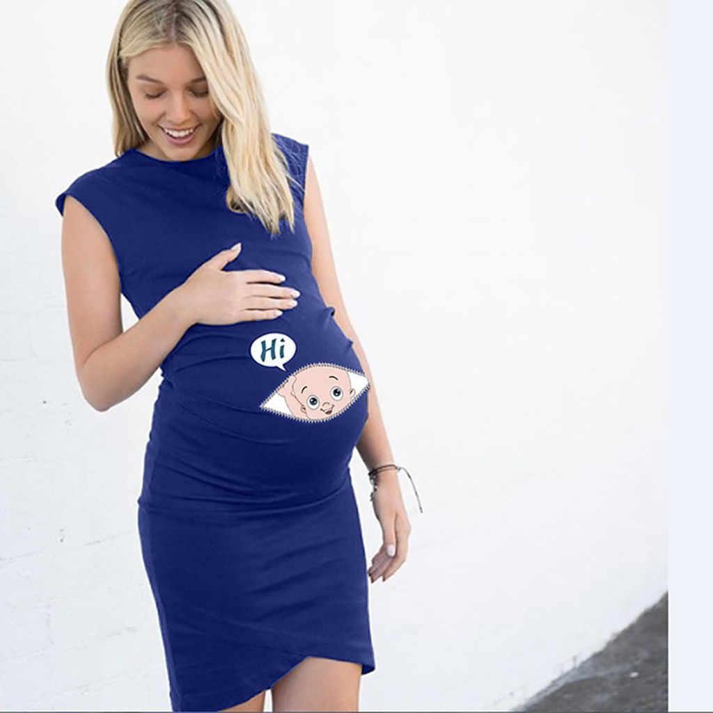 Telotuny Для женщин платье для беременных без рукавов Беременность платье с надписью Платье с принтом Творческий платья для беременных #40