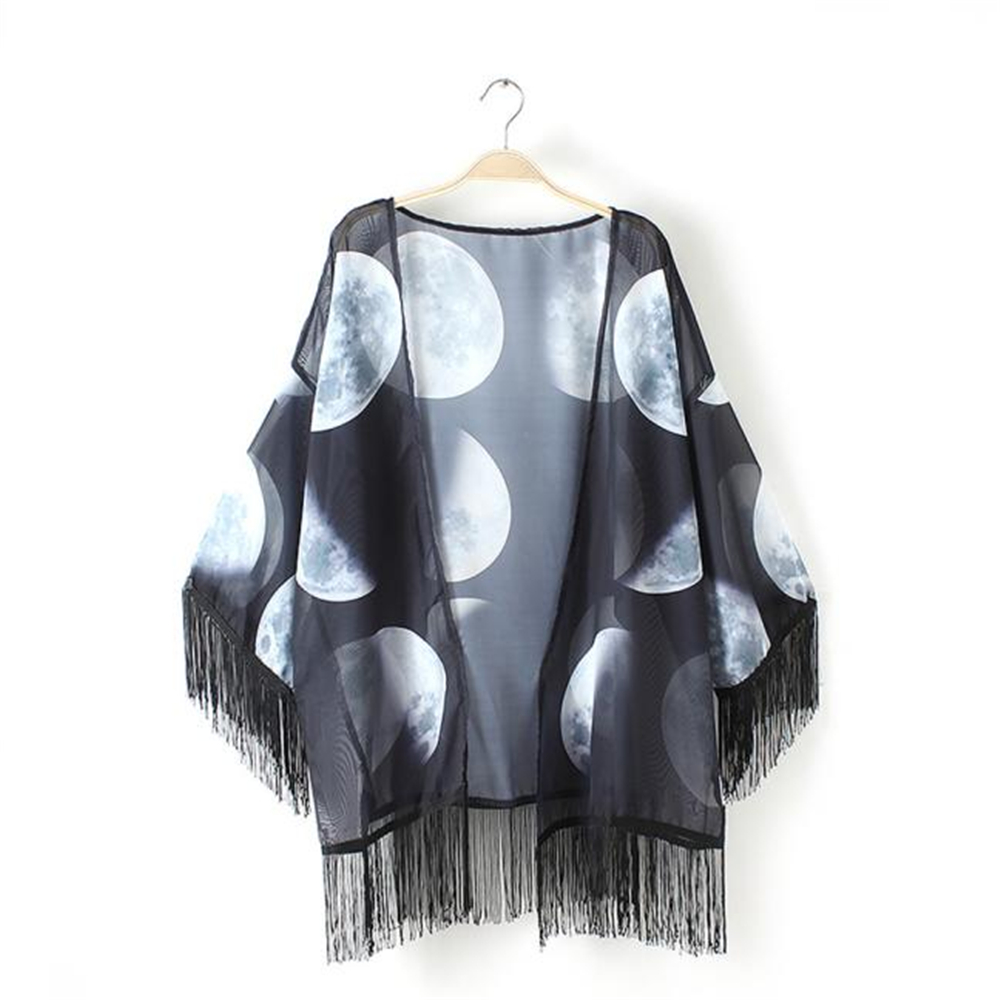 Delicate hot! Women Lunar Printed Chiffon Shawl Tops Cover up Blouse slim Spring V-Neck Cool Small fresh Tassel blusa de mujer