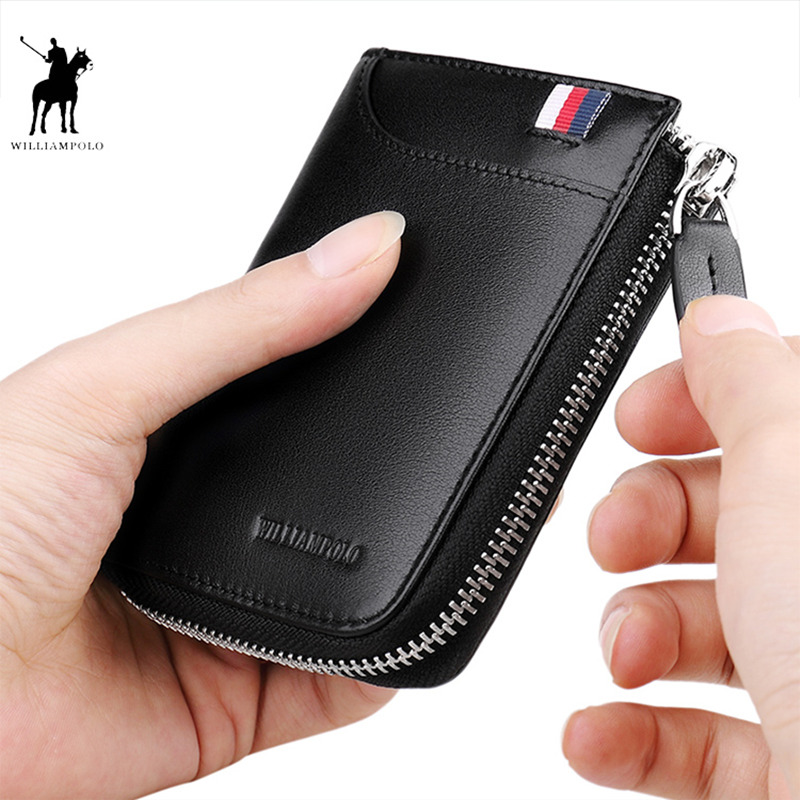 WILLIAMPOLO Men Wallets Coin Pocker Real Leather Casual Zipper Small Wallet For Credit Cards Men Minimalist