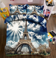 New Beautiful 3D Bedding Set Tower Photos Bed sheets Queen Twin Full Duvet Cover Bed sheet Pillowcase 4pcs/set Fitted sheet