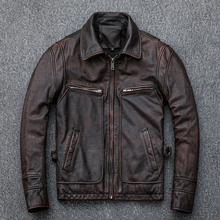 Free shipping,Asian plus size genuine leather jacket man,vin