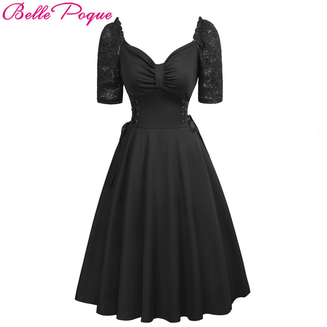 Women Summer Gothic Dresses Casual Clothing 2018 Lace-up Corset V-Neck Half Sleeve Retro Vintage Sexy Black Party Punk Dress