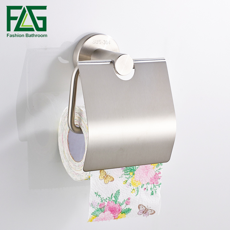 FLG Stainless Steel Toilet paper Holder Wall Mount Toilet Tissue Paper Holder Bathroom Paper Roll Holder stainless steel wall mounted waterproof toilet roll paper holder of high capacity for toilet hotel and bathroom