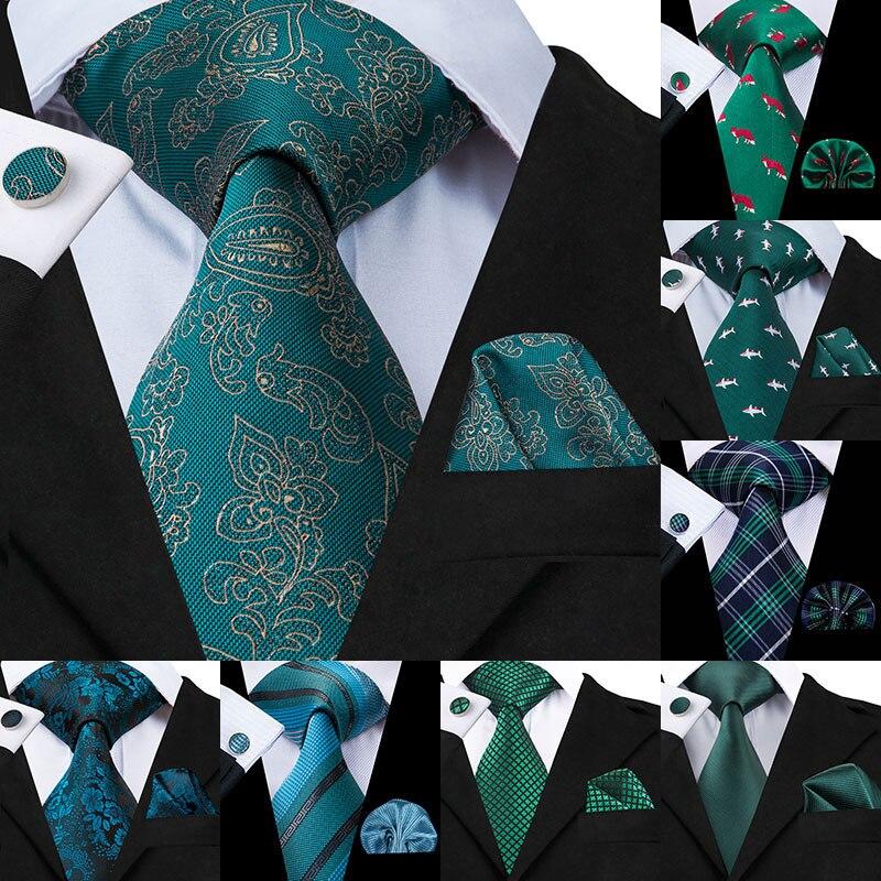 Hi-Tie New Green Silk Mens Ties For Men 8.5cm Classic Men's Wedding Party Tie Set Animal Striped Neck Tie And Handkerchiefs