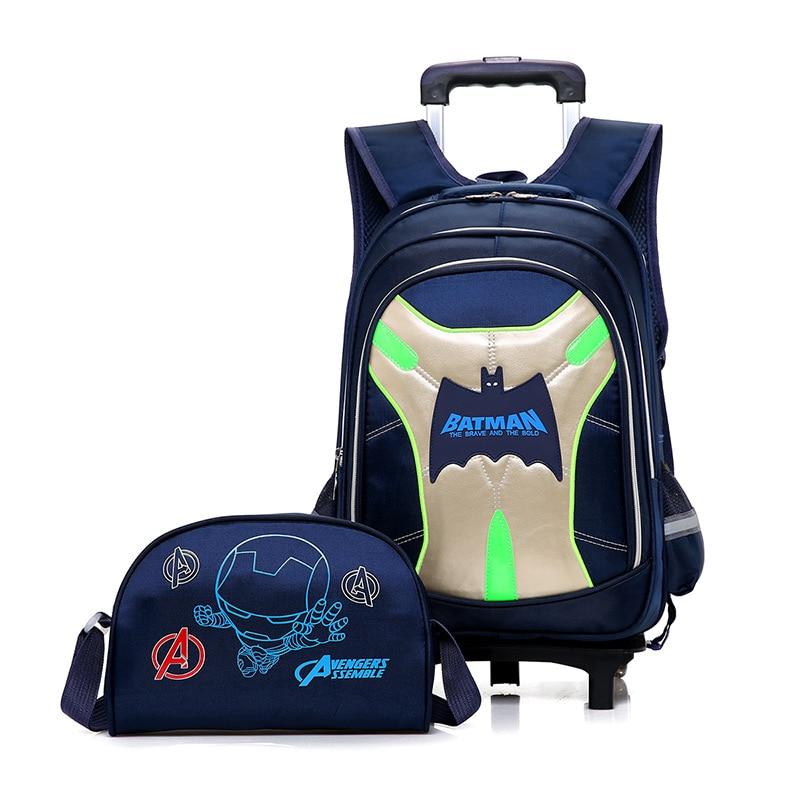 Kids Boys Batman Primary School Trolley Backpack Bat Man Cartoon Student Children Boys Rolling Backpacks Daypack