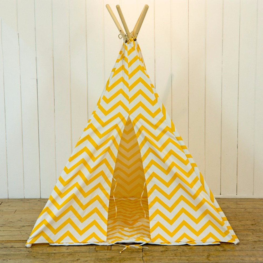 Yellow Zigzag Printed Canvas Teepee Play Tent Kids Tipi Tent Kids Tee Pee Tent Without Mat недорго, оригинальная цена