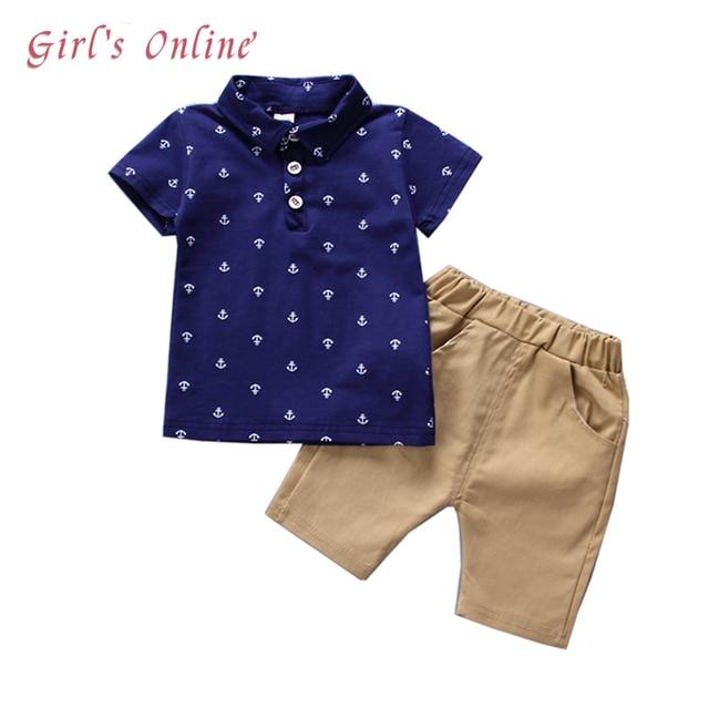 От 1 до 5 лет Одежда для мальчиков 2018 новый летний комплект для мальчиков Модная рубашка-поло шорты детские, для малышей Костюмы красивый Детские костюмы