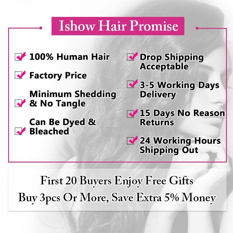 Ishow Malaysian Water Wave Human Hair 4 Bundles with Closure 100% Human Hair Weave With Closure Non Remy Hair extensions