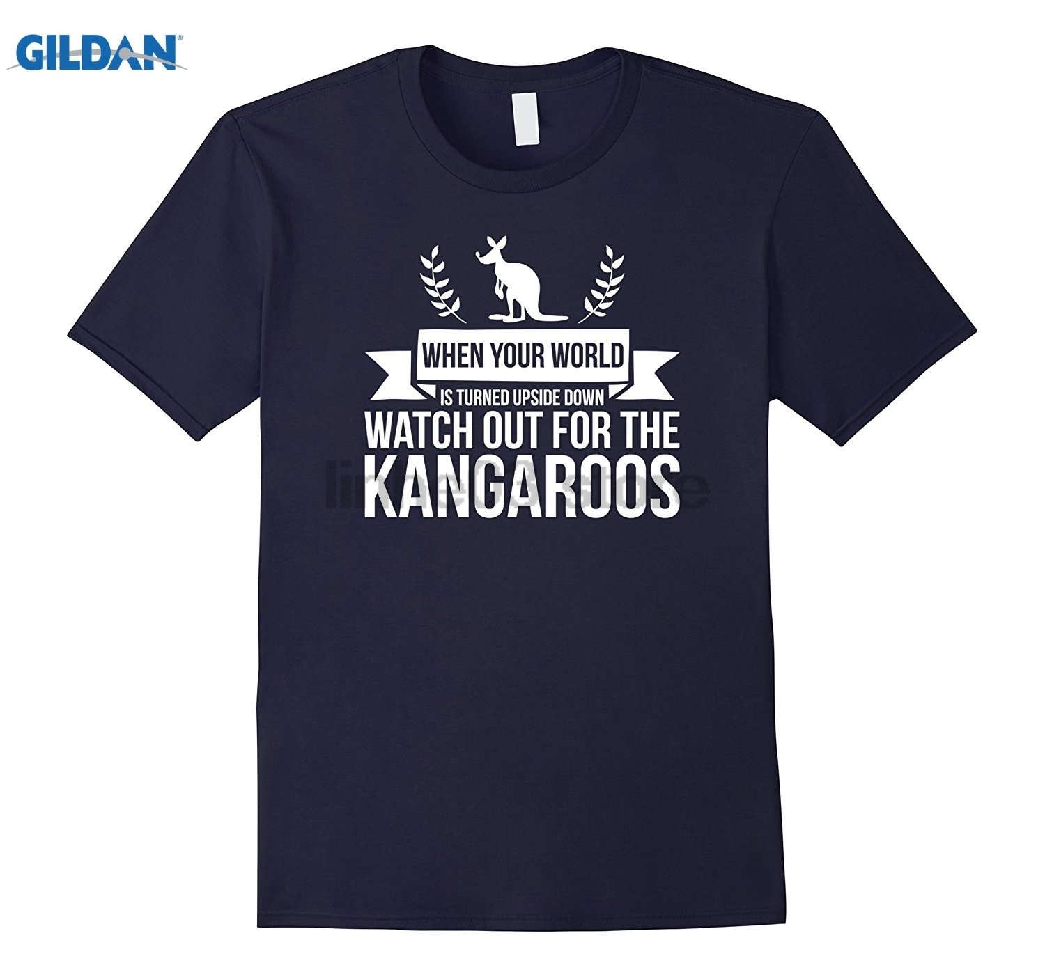 GILDAN When Your World Is Turned Upside Down Watch Out For Kangaroo Womens T-shirt Mothers Day Ms. T-shirt