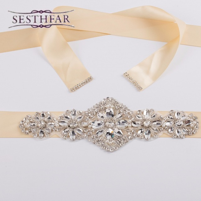 Elegant Bling Luxurious Crystal Rhinestone Czech Stones Formal Wedding Evening Dress Belt Artificial Stunning Bridal Sash