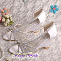 Wedopus White Ivory Crystal Wedge Wedding Shoes Bridal Pumps for Women Dropshipping