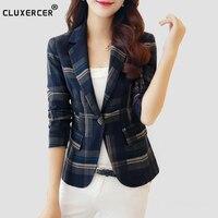 Blazer Feminin 2018 Women Blue Red Plaid Blazer Office lady Slim Blazers And Jackets One Button Suit Girl Plus size Jacket