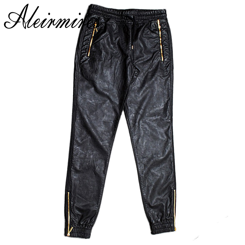 Aleirmires Men Faux Leather Jogger Pants Zippered Leg Opening & Pockets New 2017 Hip Hop Mens PU Joggers Drawstring Waist