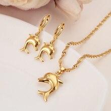 Маленький золотого цвета размер милый Дельфин кулон ожерелья и серьги для женщин/девочек, ювелирные изделия, вечерние подарки