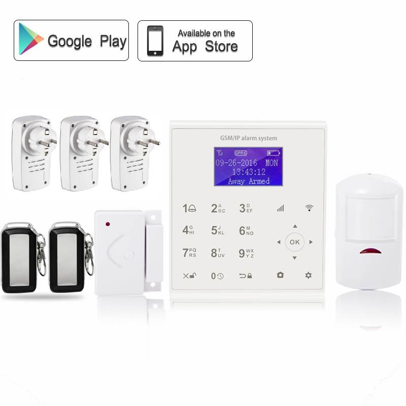 433mhz Wireless smartphone Android/IOS APP control home security wi-fi gsm alarm system with home automation smart socket