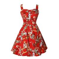 Spring/Summer Women's Casual Travel Hepburn Slim Retro 50s60s Sleeveless Sweet Spaghetti Strap Party Dress
