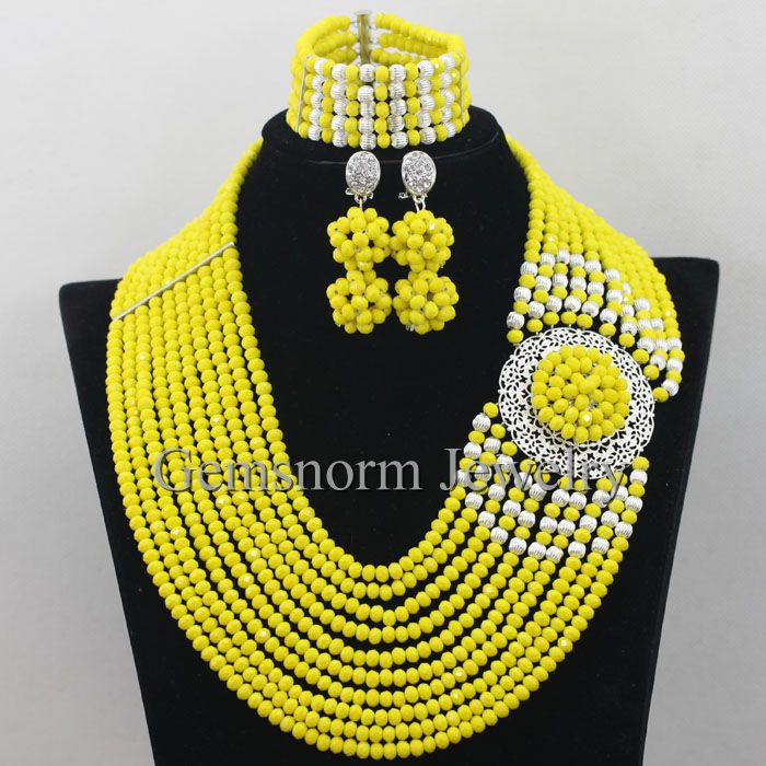 2e9377a21f169 رومانسية الأصفر قلادة مجموعة الزفاف 10 طبقات كريستال الخرز النيجيرية  مجوهرات مجموعة للعرائس شحن مجاني WA090