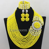 Romantic Yellow Wedding Necklace Set 10 Layers Crystal Beads Nigerian Jewellery Set for Brides Free Shipping WA090