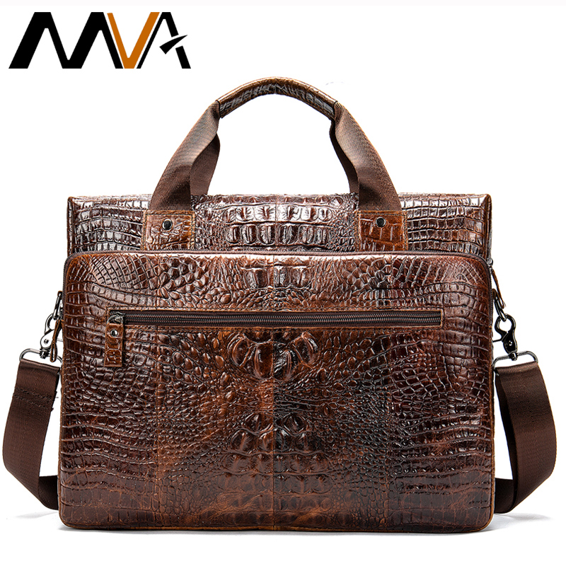 MVA Male Briefcase/Bag Men's Genuine Leather Bag For Men Leather Laptop Bags Office Bags For Men Crocodile Pattern Handbag  5555