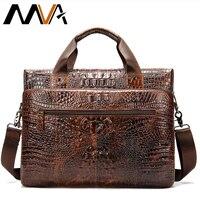 MVA Men's Genuine Leather Briefcase Male man computer Laptop Bags For Men Cow Leather Men's Bag Crocodile Pattern handbags 5555