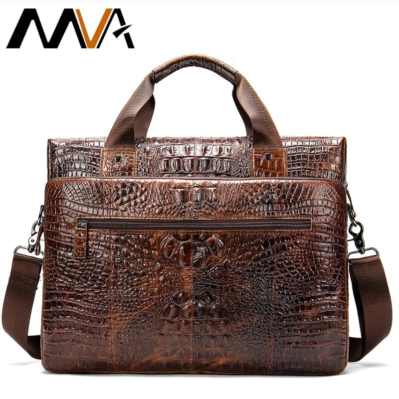 MVA الذكور حقيبة/حقيبة الرجال حقيبة جلدية أصلية للرجال حقائب اللابتوب الجلدية حقائب مكتبية للرجال التمساح نمط حقيبة يد 5555-في حقائب جلدية من حقائب وأمتعة على  مجموعة 1