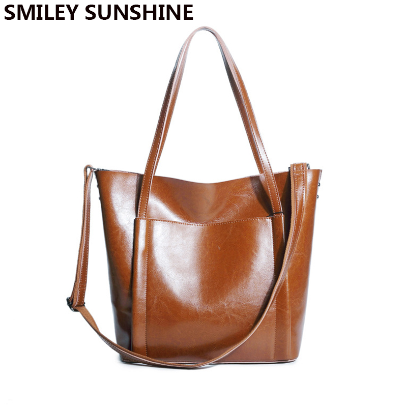 SMILEY SUNSHINE big female genuine leather shoulder bag for women handbag ladies fashion purses and handbags hand bag sac a main