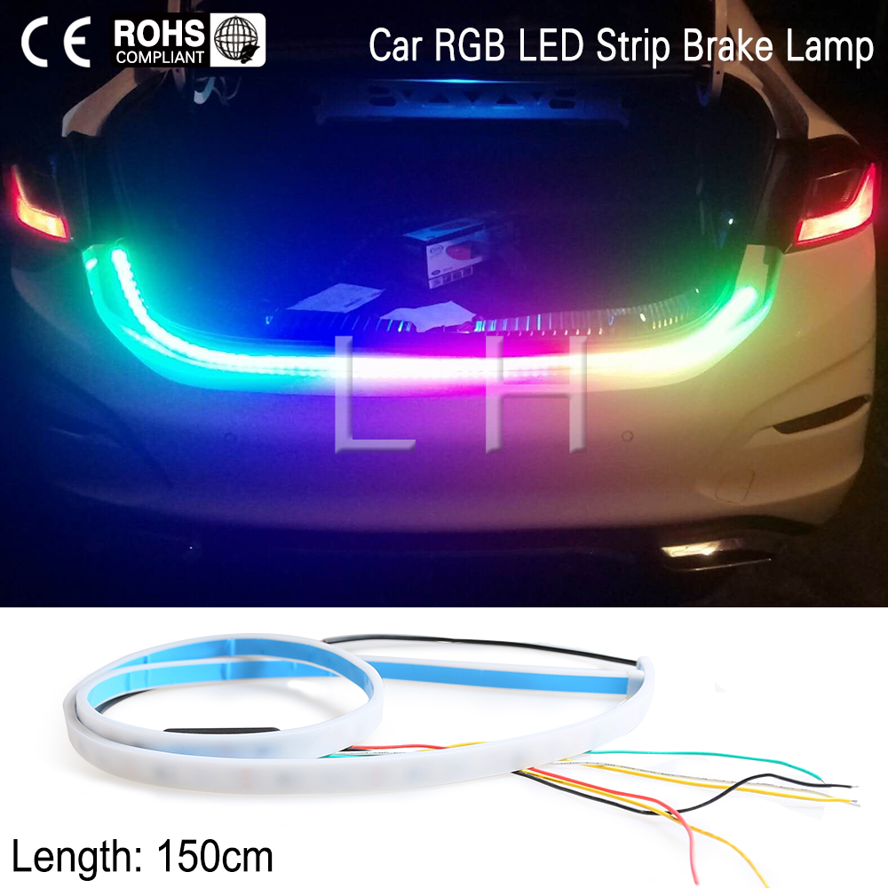 RGB colorful Tail lights LED Warning Light flowing LED strip for car trunk 150cm blinkers led turn light